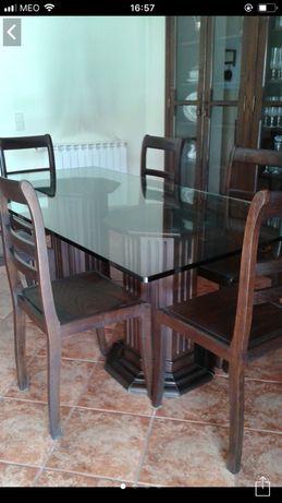 Mesa sala jantar c/ 6 cadeiras madeira