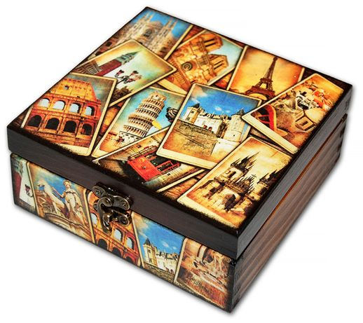 SZKATUŁKA pudełko drewniane POSTCARDS 14x14
