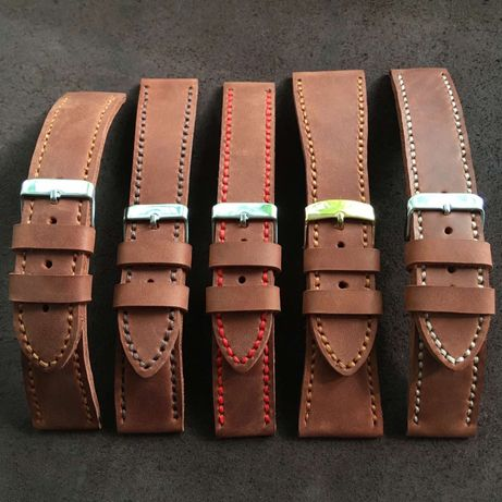 Ремешок, браслет на часы,кожаный, светло-коричневый,ручная работа