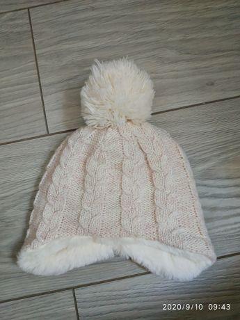 Зимняя шапка на девочку 0-1,5 месяца