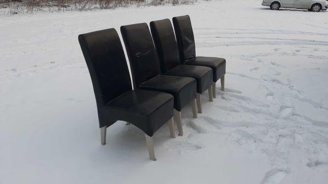 Krzesła 4 sztuki kompler skóra
