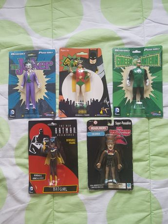 Figuras Bendable do Joker, Robin, Green Lantern, Batgirl e Columbia