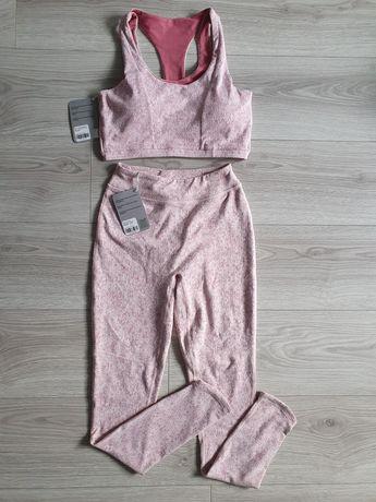 Gymshark zestaw set sportowy komplet pudrowy róż SM 36 38 legginsy top