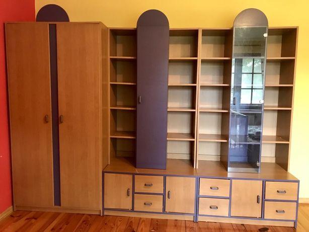 Komplet mebli młodzieżowych dziecięcych biurko szafa komoda modułowe