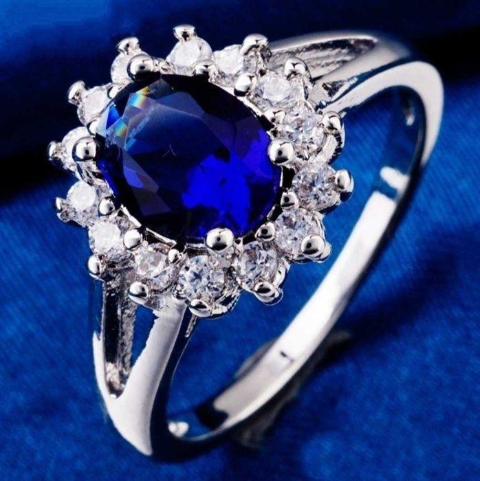 Кольцо Цветок, покрытие платиной, синий и белые австрийский цирконий Кропивницкий - изображение 1