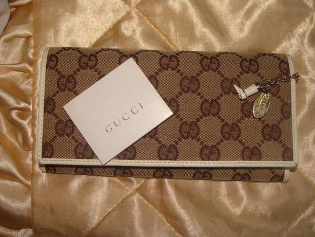 Gucci оригинал Италия кожа и канва кошелек монограмма