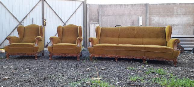 Sofa dwa fotele styl Ludwik, meble zabytkowe.