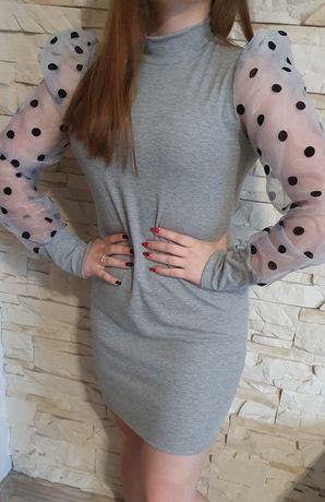 Sukienka krążek tiul grochy bufki L-XL-XXL sexy wyszczuplająca