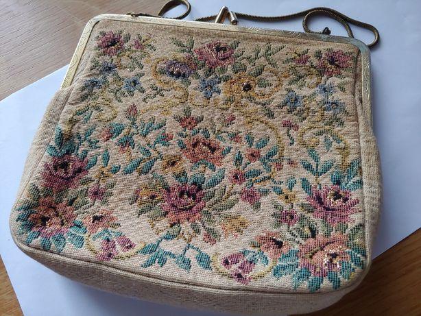 Antyk Starodawna torebka haftowana rękodzieło.nie srebro