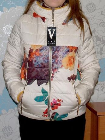 демисезонная женская куртка с цветами, цветочный принт НОВАЯ