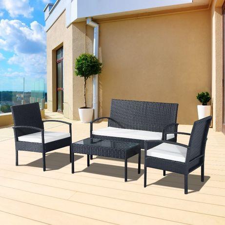 Zestaw mebli ogrodowych czarnych rattan 2 osobowa sofa stolik 2 fotele