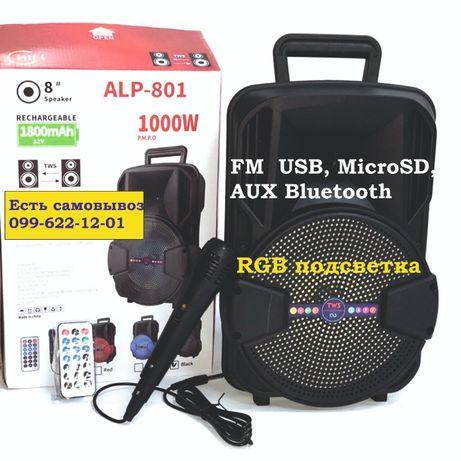 Портативная акустическая система колонка чемодан с микрофоном караоке