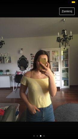 Bluzka żółta paski H&M S