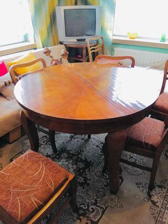 Stół drewniany PRL - rozkładany, stary, okrągły, retro,