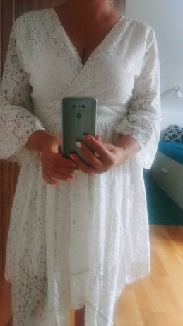 Biała koronkowa sukienka bohoo S / M 36 / 38