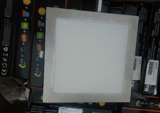 Painel de LED Quadrado (22 x 22cm) 18W 6000K, Aço Escovado, novo