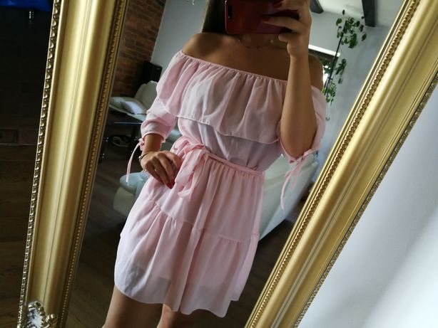 Sukienka hiszpanka r. S/M, sukienka pudrowy róż z odkrytymi ramionami