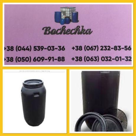 Бочка 200-250 л чёрная пищевя пластиковая с крышкой под закрутку