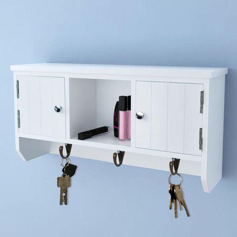 vidaXL Armário de parede para chaves e jóias com portas e ganchos 241850