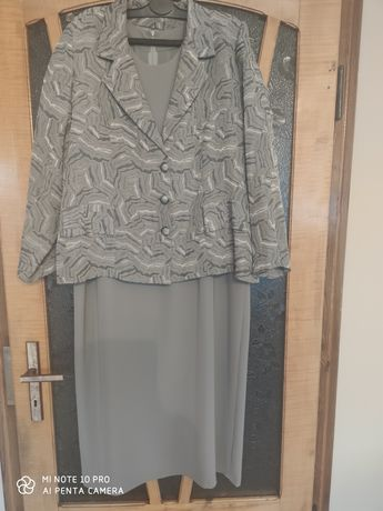 Sukienka z żakietem popielata 48