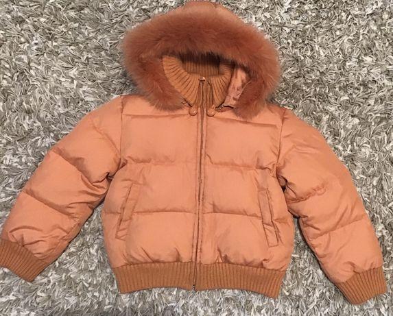 Детская куртка пуховая для девочки, Greenland, Персик, 122см