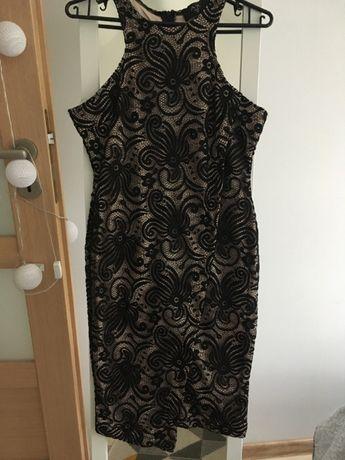 Czarna koronkowa, ołówkowa sukienka, szydełkowa rozmiar M/L