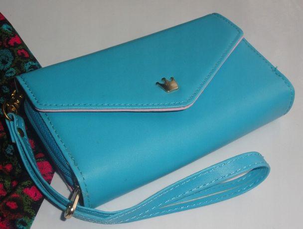 Portfel damski portmonetka nowa niebieski różowy
