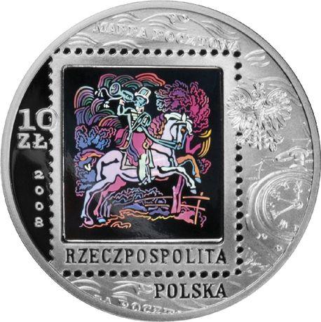 Srebrna moneta z hologramem 450 LAT POCZTY POLSKIEJ 10zł 2008 kapsel