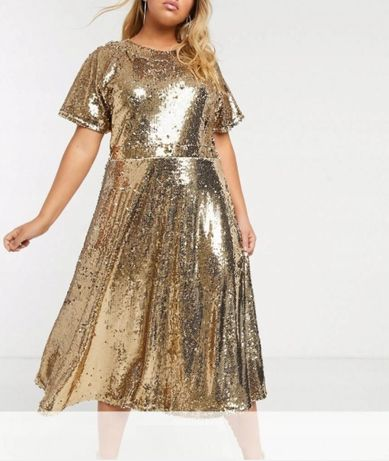 Sukienka złota cekinowa midi rozkloszowana 48 50 4XL 5XL błyszcząca