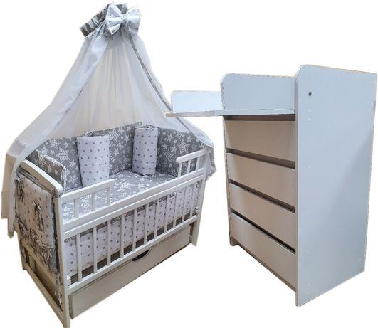 Акция! Комплект: Комод, кроватка. В подарок! Матрас кокос и постель.
