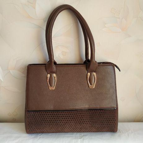 Женская средняя сумка со стразами коричневая