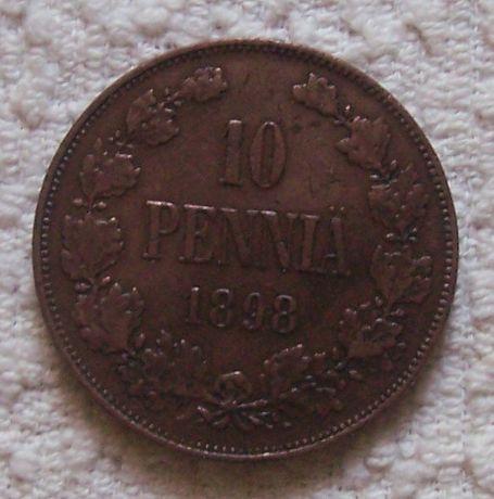 1898 Финляндия 10 пенни Николай ІІ VF+ Хорошие! Очень РЕДКИЕ ( ГОД)