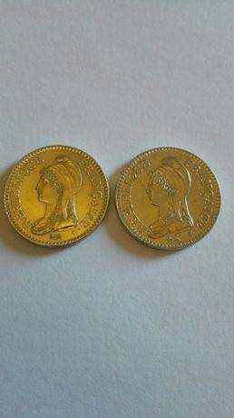 moedas de 1 franco copro-niquel