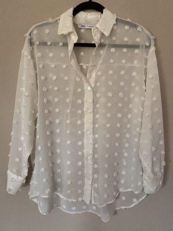 Koszula biała w puszyste grochy Zara