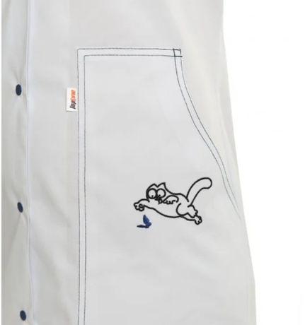 Медицинский халат женский Севилья белый /синяя строчка
