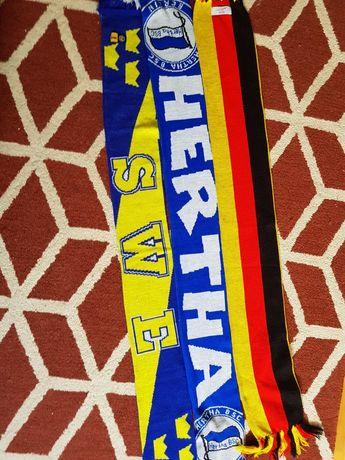 Zestaw szalików  piłkarskich- szwecja, niemcy,hertha berlin