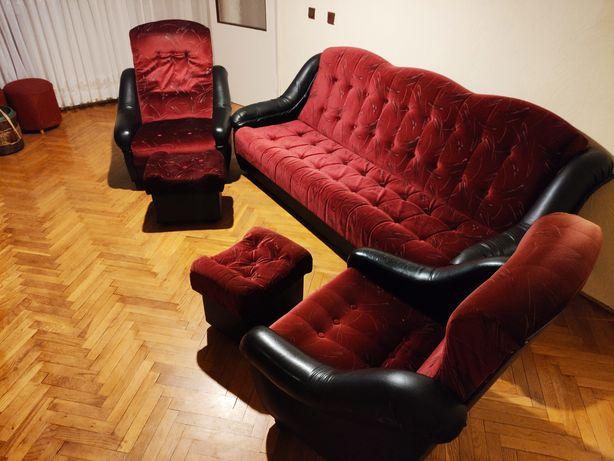 Zestaw wypoczynkowy kanapa fotele pufy stan dobry