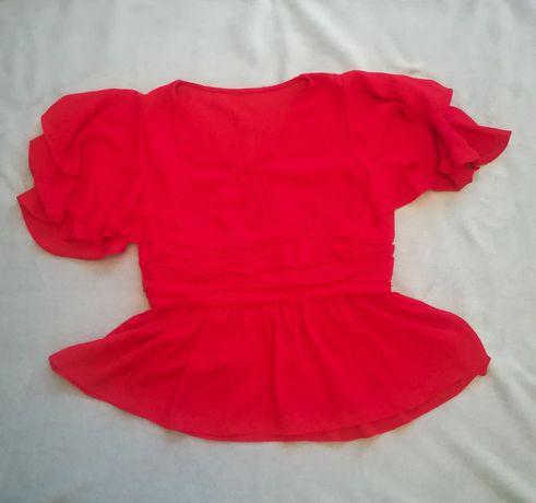Top szyfonowy wiązany czerwony