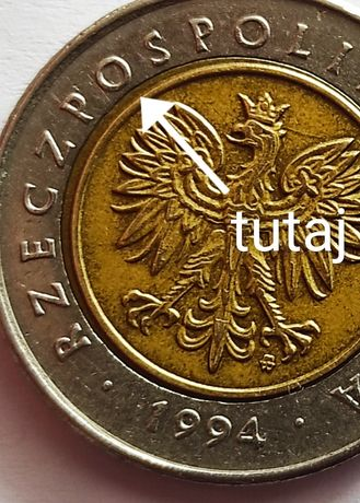 Moneta 5 zł z defektem 1994