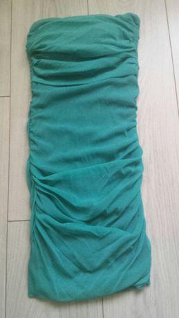 Turkusowa sukienka bez ramiączek rozmiar 34 XS