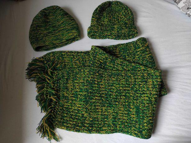 Handmade/ręcznie wykonane szalik i dwie czapki k. zielony i żółty