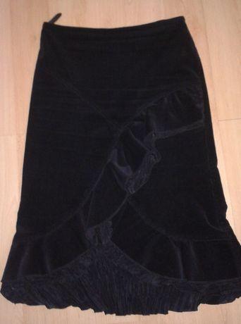 Spódnica 38 S czarna sztruksowa damska z falbanami
