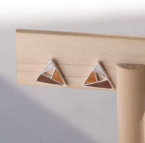 Kolczyki emaliowane trójkąty srebro 925