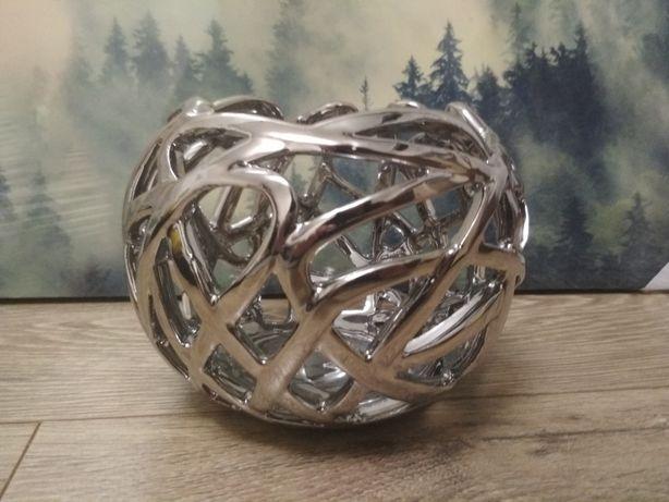 Home&you rafto. pojemnik srebrny ażurowy świecznik