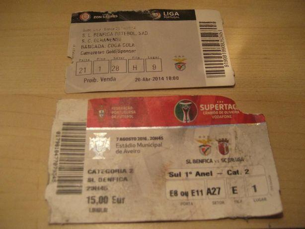 2 bilhetes futebol de jogos épicos do Benfica
