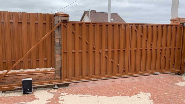 Ворота відкатні / розсувні, своє виробництво з Євроштакетником