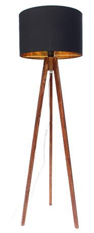 LAMPA stojąca PODŁOGOWA trójnóg drewno ABAŻUR 40 cm Wysokość 137 cm