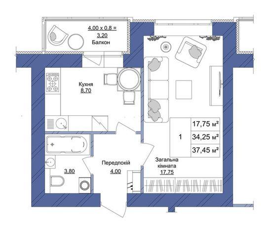 ЖК Европейский 1-комнатная, 1 секция