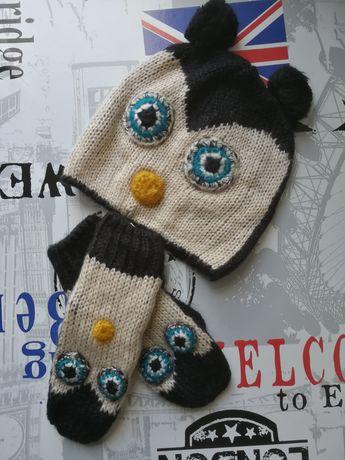 Czapka sowa + rękawiczki z palcem One Size