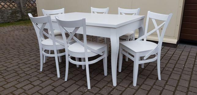 Prowansalskie Krzesło Krzyż wygodne białe do kuchni jadalni PRODUCENT